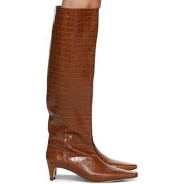 Staud Brown Croc Wally Boots 12-1065-SDLC