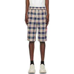 Gucci Beige and Blue Flannel Check Shorts 625893 ZAEN1
