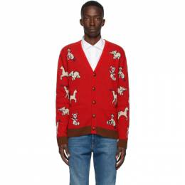 Gucci Red Wool Gucci Hawaii Cardigan 626635 XKBGB