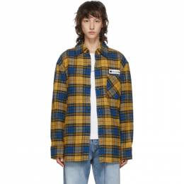 Acne Studios Yellow and Blue Flannel Logo Patch Shirt CB0023-