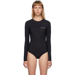 Mm6 Maison Margiela Black Logo Printed Bodysuit S52NA0031 S20518