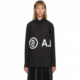 Mm6 Maison Margiela Black Oversized Reversed Logo Shirt S52DL0097 S47294
