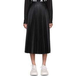 Mm6 Maison Margiela Black Coated Pleated Skirt S52MA0095 S53057
