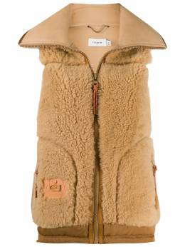 Coach shearling logo-patch gilet 4404