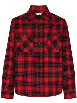 Off-White stencil flannel check shirt OMGA133E20FAB0012510