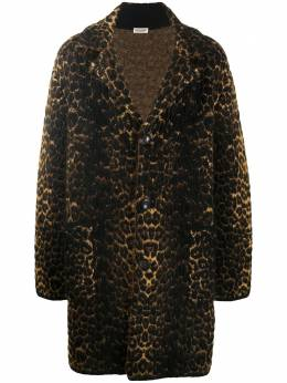 Saint Laurent однобортное пальто с леопардовым принтом 631198YARC2