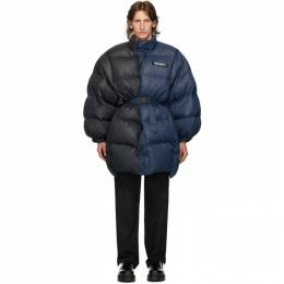 Vetements Blue and Black Puffer Jacket WAH21JA018