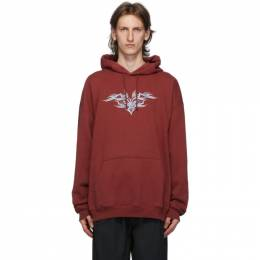 Vetements Burgundy Embroidered Hoodie UAH21TR637