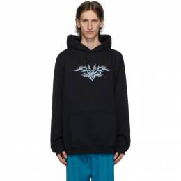 Vetements Black Embroidered Hoodie UAH21TR637
