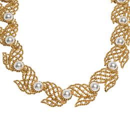 Oscar De La Renta Faux Pearl Gold Tone Necklace 303687
