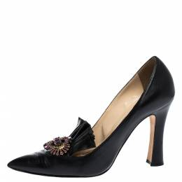 Manolo Blahnik Black Leather Crystal Embellished Frill Detail Pointed Toe Pumps Size 38.5 304170