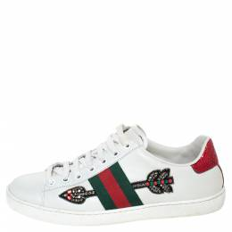 Gucci White Leather Ace Arrow Appliqué Low Top Sneakers Size 37 303596