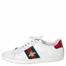Gucci White Leather Embroidered Bee Ace Low-Top Sneakers Size 35.5 303593