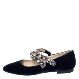 No. 21 Blue Velvet Embellished Strappy Ballet Flats Size 39 303574