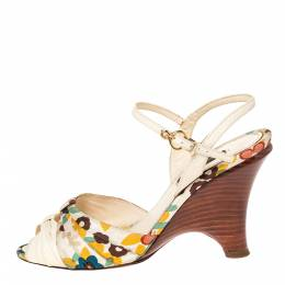 Louis Vuitton Multicolor Floral Print Fabric And Leather Ankle Strap Wedge Sandals Size 35 303572