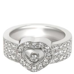 Chopard Happy Diamond 18K White Gold Diamond Ring Band Size 49 303838
