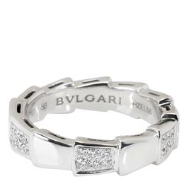 Bvlgari Serpenti Viper 18K White Gold Diamond Ring Band Size 58 303835
