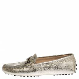 Tod's Metallic Gold Leather Double T Slip On Loafers Size 39 304191