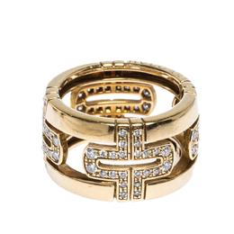 Bvlgari Parentesi Diamond 18K Yellow Gold Wide Band Ring Size 50 304210