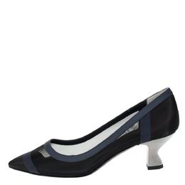 Fendi Navy Blue/Black Mesh And Leather Trim Colibri Pointed Toe Pumps Size 38 304214