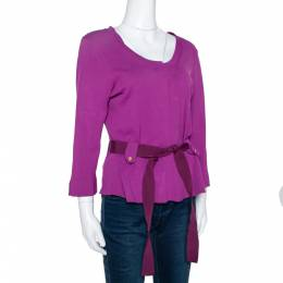 Ch Carolina Herrera Fuschia Stretch Knit Belted Cardigan L 303650