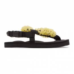 Cecilie Bahnsen Black and Yellow Suicoke Edition Floral Sandal SS20-SH001