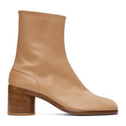 Maison Margiela Tan Mid Heel Tabi Boots S57WU0132 PR516