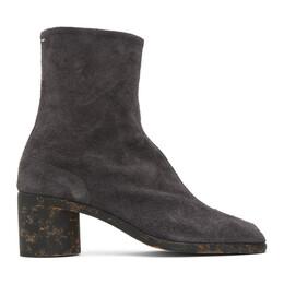 Maison Margiela Grey Suede Mid Heel Tabi Boots S57WU0132 P3713 H8320