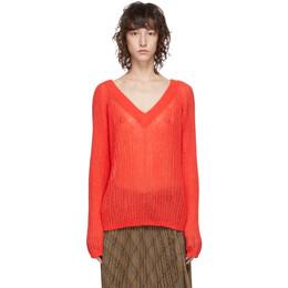 Helmut Lang Red Alpaca Double V Sweater K04HW713