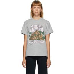 Ganni Grey Lets Grow Wild Graphic T-Shirt T2758