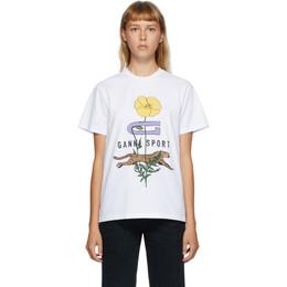Ganni White Cheetah Flower T-Shirt T2753