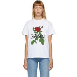Ganni White Rose T-Shirt T2751