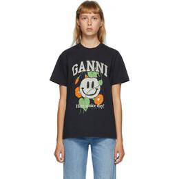 Ganni Black Smiley Flower T-Shirt T2750