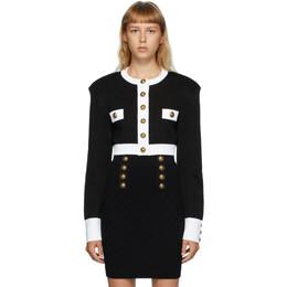 Balmain Black and White Buttoned Short Jacket UF17032K119