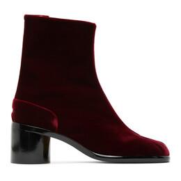 Maison Margiela Red Mid Heel Velvet Tabi Boots S57WU0132 P1788