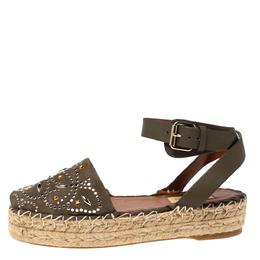 Valentino Green Studded Suede Platform Peep Toe Ankle Strap Espadrilles Size 36 303335