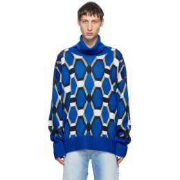 Random Identities Blue Wool Jacquard Sweater KN-25