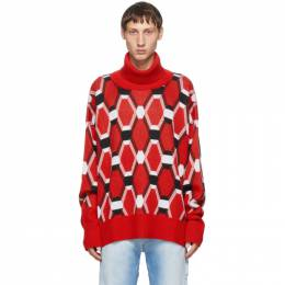 Random Identities Red Jacquard Turtleneck KN-25