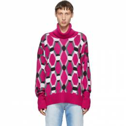 Random Identities Pink Wool Jacquard Sweater KN-25