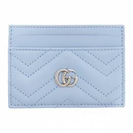 Gucci Blue GG Marmont Card Case 443127 DTD1P