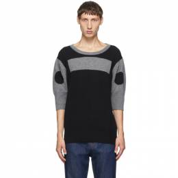 Random Identities Black Wool and Cashmere Morse Code Sweater KN-22