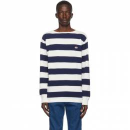 Gucci Blue and White Waffle Long Sleeve Sweatshirt 626048 XKBE5