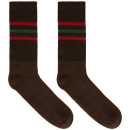 Gucci Brown Striped Logo Socks 624886 4G492