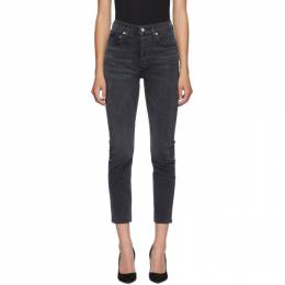 Agolde Black Riley High Rise Straight Crop Jeans A056-1084