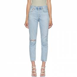 Agolde Blue Riley High Rise Straight Crop Jeans A056B-983