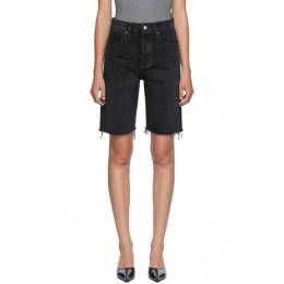 Agolde Black Denim 90s Mid-Rise Loose Shorts A089-1157
