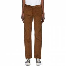 Naked And Famous Denim Brown Heavy Velvet Twill Tapered Chino Trousers 102345196
