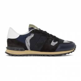 Valentino Navy and Black Valentino Garavani Rockrunner Sneakers UY2S0723QRK