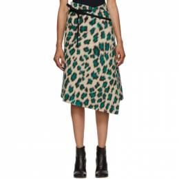 Mm6 Maison Margiela Beige Leopard Wrap Skirt S52MA0109 S53100