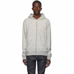 Naked And Famous Denim Grey Heavyweight Terry Zip Hoodie 130456084